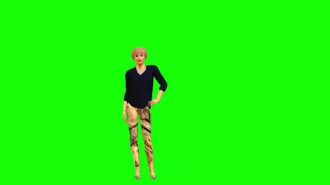 460 3d animated girl poses walks and think Animation