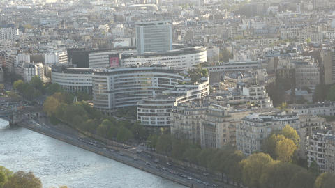 Buildings beside Seine River in Paris - zoom out Live Action