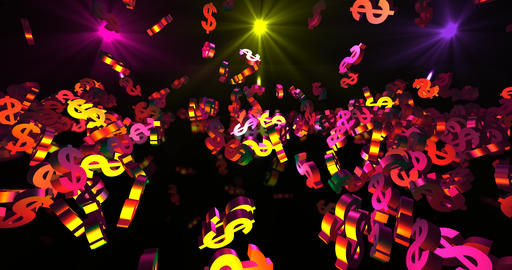 Golden 3d dollar symbols falling in neon lights falling. Finance event Animation