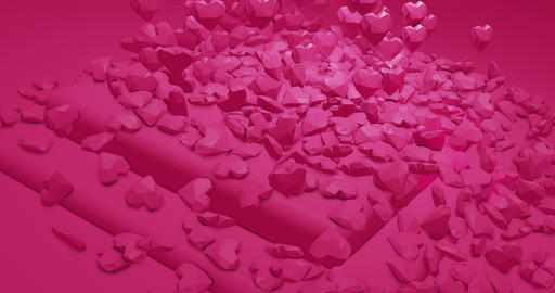 Pink glamor falling polygonal hearts. Valentines Day. event background. 3D Animation