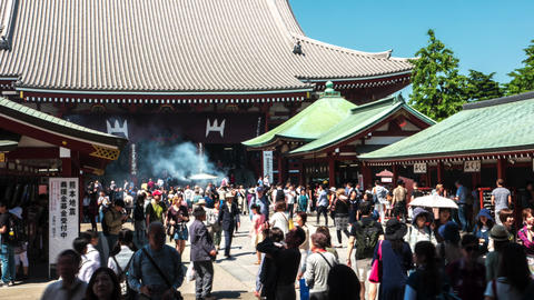 Tokyo - May 2016: Visitors at Senso-ji Buddhist temple. Asakusa. 4K resolution t Footage
