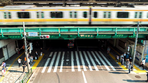 Tokyo - May 2016: Nakano station time lapse of people, trains and traffic. 4K re Footage