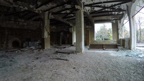 Ruined Interior of a Building Stock Video Footage