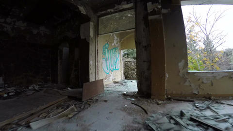Ruined Interior of a Building Footage