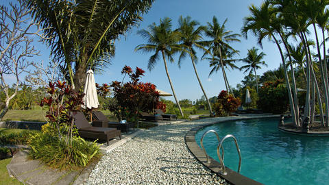 Poolside at a Tropical. Luxury Resort Hotel. UltraHD video Footage