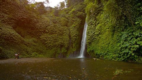 Beautiful Munduk waterfall on the island of Bali Footage