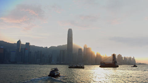 Ferry and Utility Boat Traffic in Harbor off Hong Kong. Video UltraHD Footage