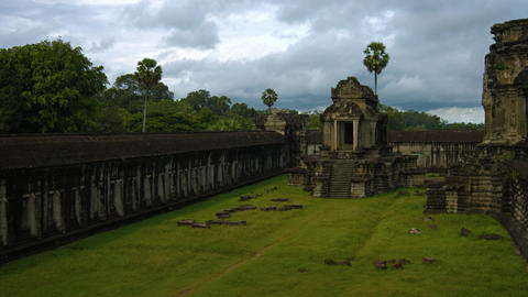 Expansive Courtyard of Angkor Wat Temple Complex in Cambodia. Video 3840x2160 Live Action