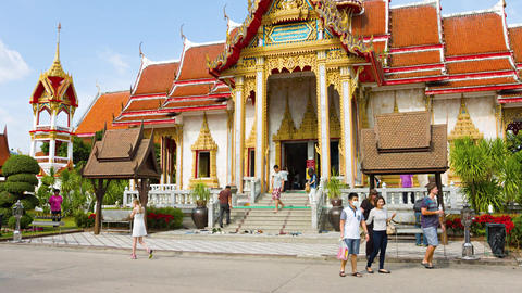 Ornate Facade of Chalong Temple in Phuket. UHD video Live Action