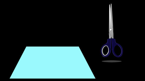 Scissors Cutting a Paper. Animation with Alpha Channel Footage