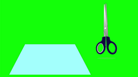 Scissors Cutting a Paper Isolated on Green Screen Footage