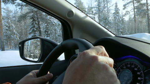 Driver is Driving on a Winter Road Footage