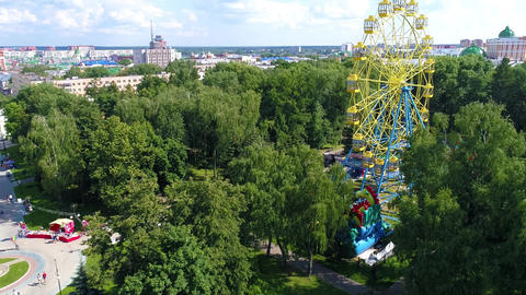 Ferris Wheel In The City Park Drone Collection 2