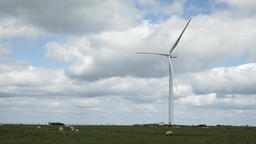 Wind turbine on a farm scene stock footage Live Action