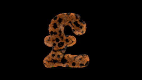 3D animated furry hairy zoo leopard text typeface with alpha channel GBP Animation