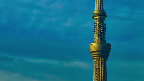 A dusk timelapse of the tower at the urban city in Tokyo long shot tilt Live Action