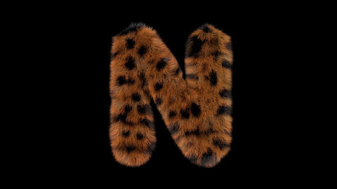 3D animated furry hairy zoo leopard text typeface with alpha channel N Animation