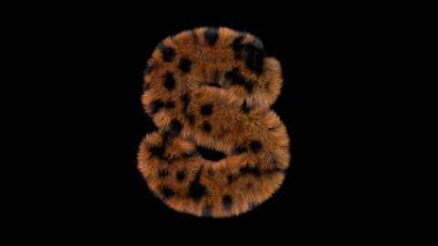 3D animated furry hairy zoo leopard text typeface with alpha channel S Animation