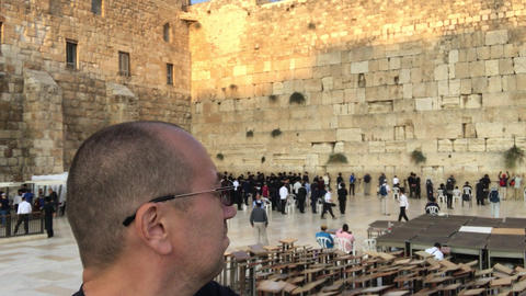 Jerusalem, Israel - October 20, 2019: tourists in the square near the wall of Live Action