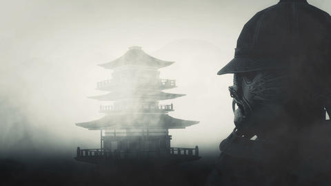 Samurai Bushido Warrior Wearing Mask and Helmet and a Japanese Temple Live Action