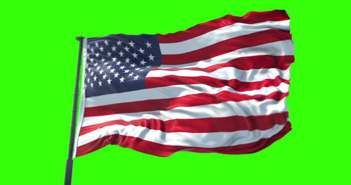 american USA flag with pole, stars and stripes, united states of america on chroma key Live Action