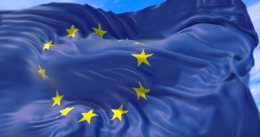 european EU flag, euro flag with pole, flag of european union waving, yellow star on blue background Live Action