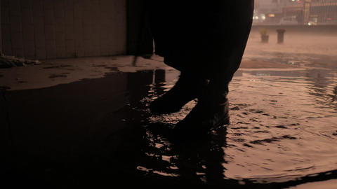 Zombie walking in a puddle Live Action