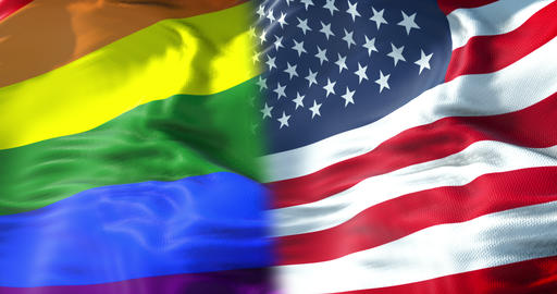 half waving colorful of gay pride rainbow flag and half united states of america flag waving, civil Live Action