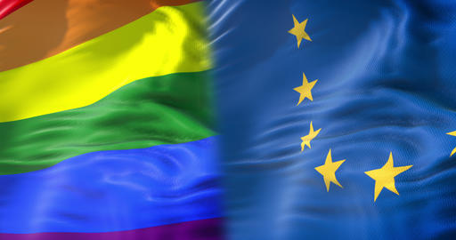 half waving colorful of gay pride rainbow flag and half european union waving, civil right flag in Live Action