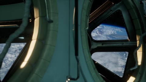 Cockpit view from International Space Station operating nearby of planet Earth Acción en vivo