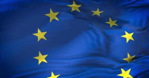 european EU flag, euro flag, flag of european eurozone union waving, yellow star on blue background Live Action