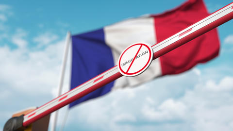 Barrier gate with no immigration sign being closed with flag of France as a Live Action
