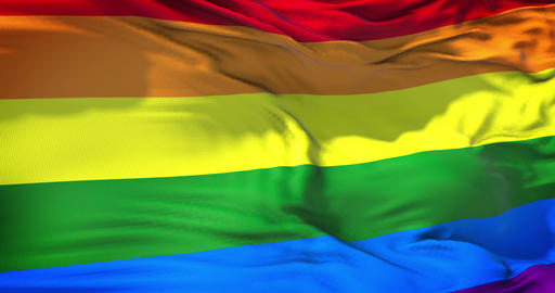 waving colorful of gay pride rainbow flag, civil right flag seamless looping 3D rendering, peace in Live Action