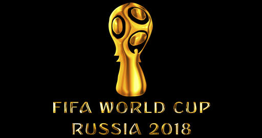 Moscow, Russia, June 14 2018, FIFA - gold metallic shiny word text with official logo of the Live Action