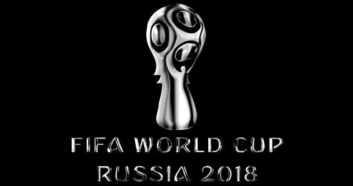 Moscow, Russia, June 14 2018, FIFA - silver metallic shiny word text with official logo of the Live Action