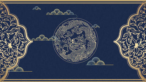 Chinese style classical classical pattern Xiangyun Dragon national tide background AE template After Effects Template