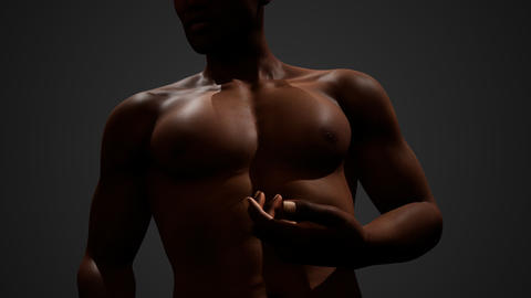 African American Male with bare chest Live Action