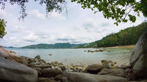 Peaceful Lagoon along a Rocky Beach on a Cloudy Day. Video 3840x2160 Footage