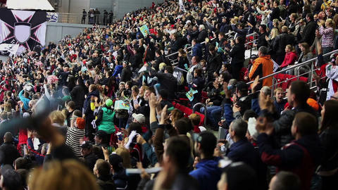 Goal. Fans greet their team applause Footage