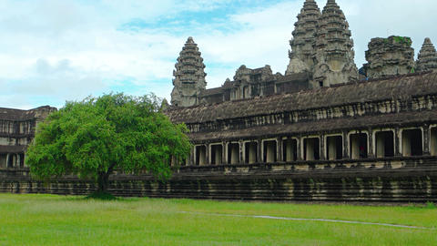 Long Face of Angkor Wat. Fronting a Grassy Field. Video 3840x2160 Live Action