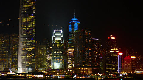 Dramatically Lit Hong Kong Cityscape at Night. Video 3840x2160 Live Action