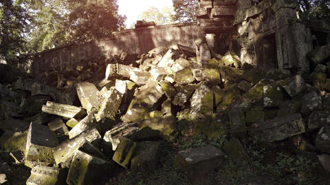 Massive Heap of Ancient Stone Blocks at Cambodian Temple Ruin. Video UltraHD