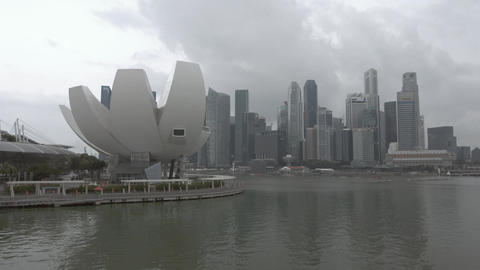 ArtScience Museum with modern skyscrapers of CBD Central Business District Footage
