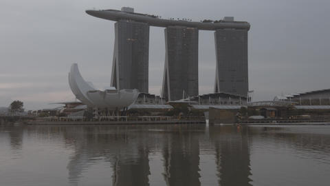 Vericcal panning on Marina Bay Sands and ArtScience Museum buildings Live Action