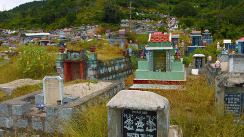 Buddhist cemetery in Nha Trang. Video 3840x2160 Live Action