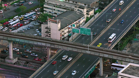 Overlooking view of Bangkok's usual heavy traffic in timelapse Footage