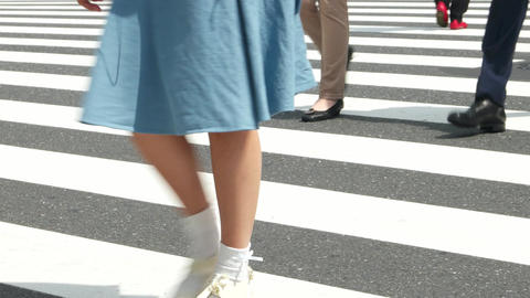 Tokyo - May 2016: People walking on cross walk. Close up of feet. Shinjuku. 4K r Footage