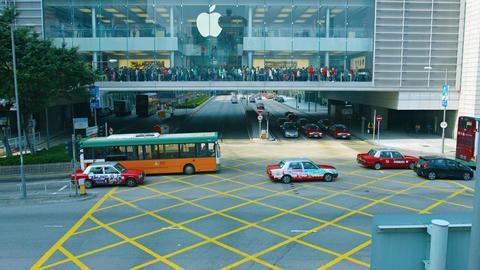 Big Apple Store. in downtown Hong Kong. China. Video UltraHD Live Action