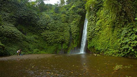 Big waterfall in Bali. Indonesia. Munduk. Video 4k Footage