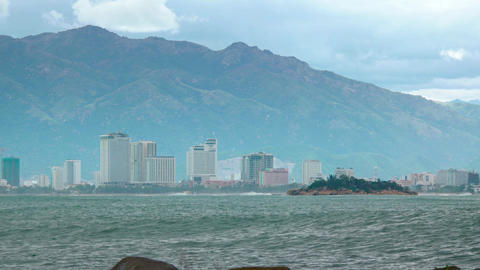Contemporary Architecture of Nha Trang. Vietnam. from across the Bay Footage